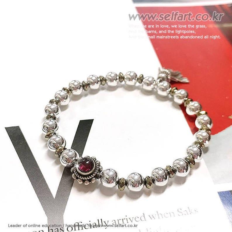 Silvered Tassel Bracelet 925 Sterling Silver Natural Gemstone Garnet
