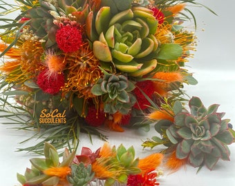 Dried Flower and Succulent Wedding Bouquet - Real Succulent Wedding Bouquet - Succulent Personals - Succulent Bridal Accessories