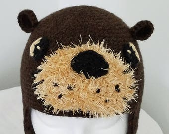 Otter Hat for kids or adults - hand crocheted