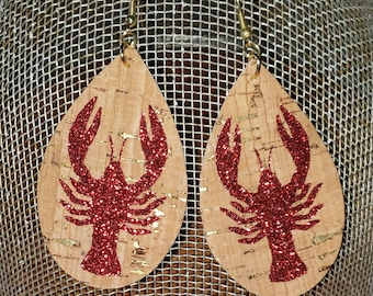 Printed Faux Leather Crawfish gift for sister