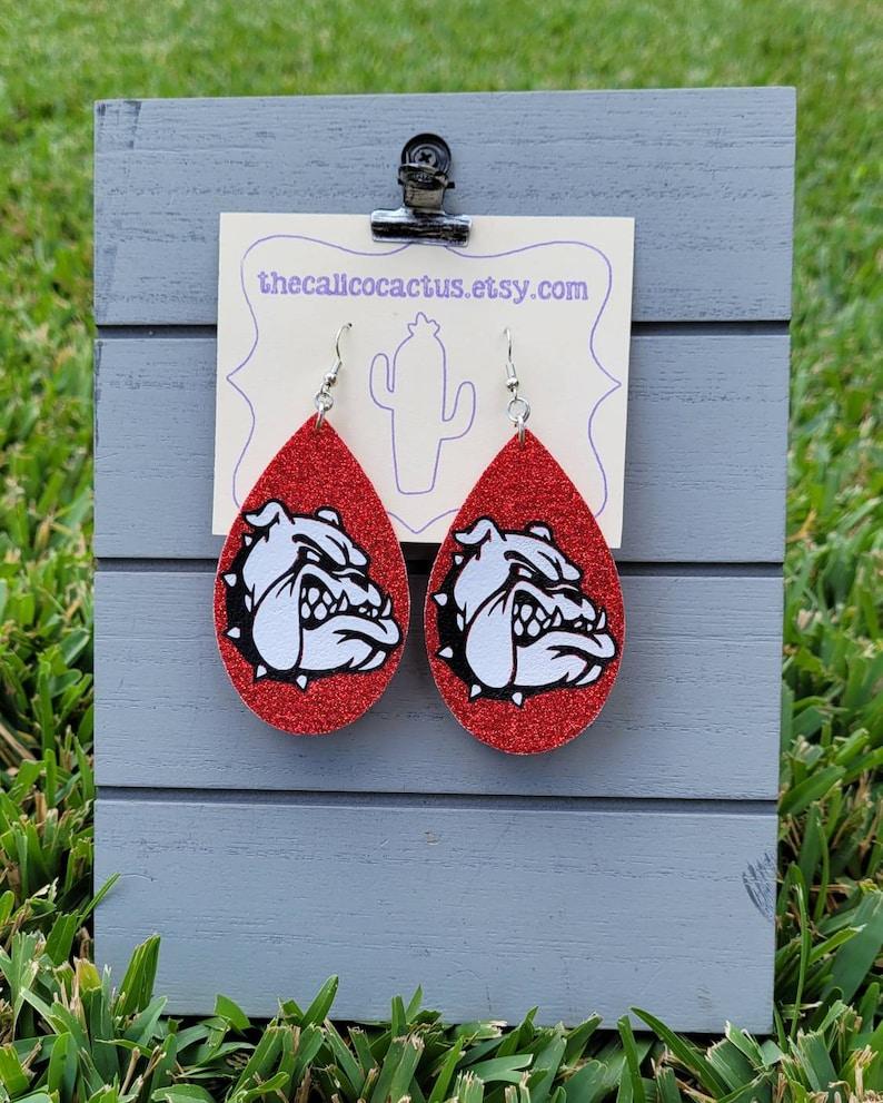 2.5 x 1.5 Faux Leather and HTV Bulldog Teardrop earring