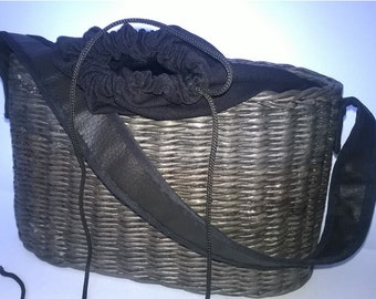 Handmade bag Black handbag Handwoven bag Wicker handbag Bag basket Birkin style Tote Bag Market wicker basket French bag Vintage style bag