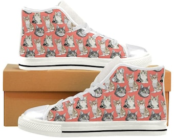962807944e4e High Top Canvas Sneakers Cat Pattern for Girls and Women   Coral   Cat    Print   Shoes   Converse   Woman