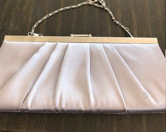 Silver Satin Pleated Clutch