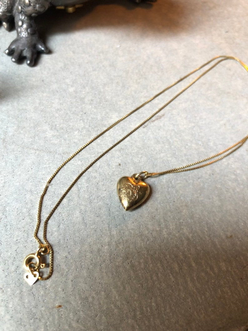 Vintage 10k Gold Heart Pendant Initial Monogrammed Engraved with chain