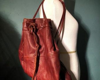 Vintage Brown Leather Patchwork Backpack