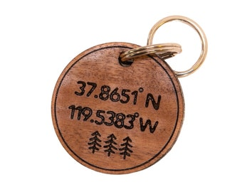 Yosemite coordinate keychain, gift for couple, National Park