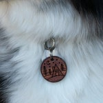 Dog Tag with Trees | Wooden dog Tag | Mountain Dog Tag | Wooden Pet ID Tag | dog tag for collar | A-Frame Cabin