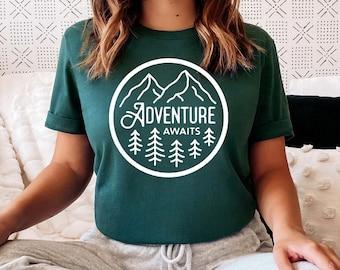 Adventure Awaits Shirt, Camping shirts for women, gift for traveler, Unisex, stocking stuffer