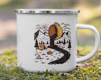 Enamel Mug, Hiking Gear , Gift for couple, RV Accessories