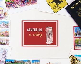Adventure is Calling Travel Postcard (digital file)