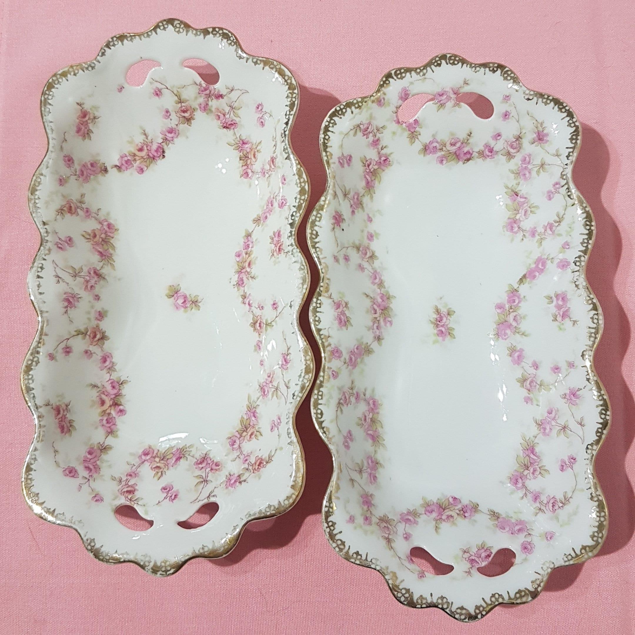 Antique Mz Austria Altrohlau Bridal Rose Celery Dishes Small