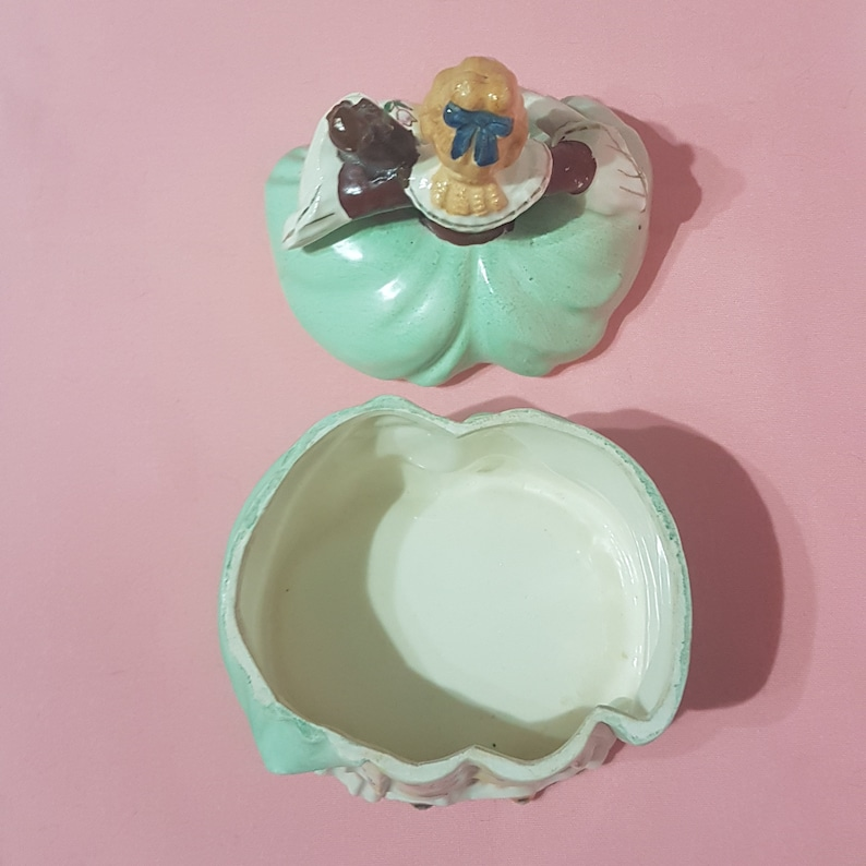 Vintage Hand Painted Porcelain Victorian Figural Lady Trinket Box Dresser Powder Jewelry Box Gift for Her,1940/'s