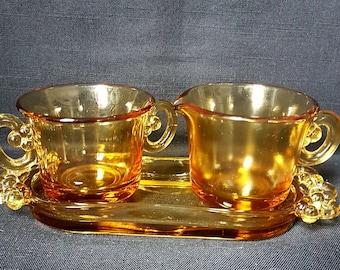 Retro/Vintage Amber/Yellow/Orange Glass Cream Sugar Tray Set (1960's)