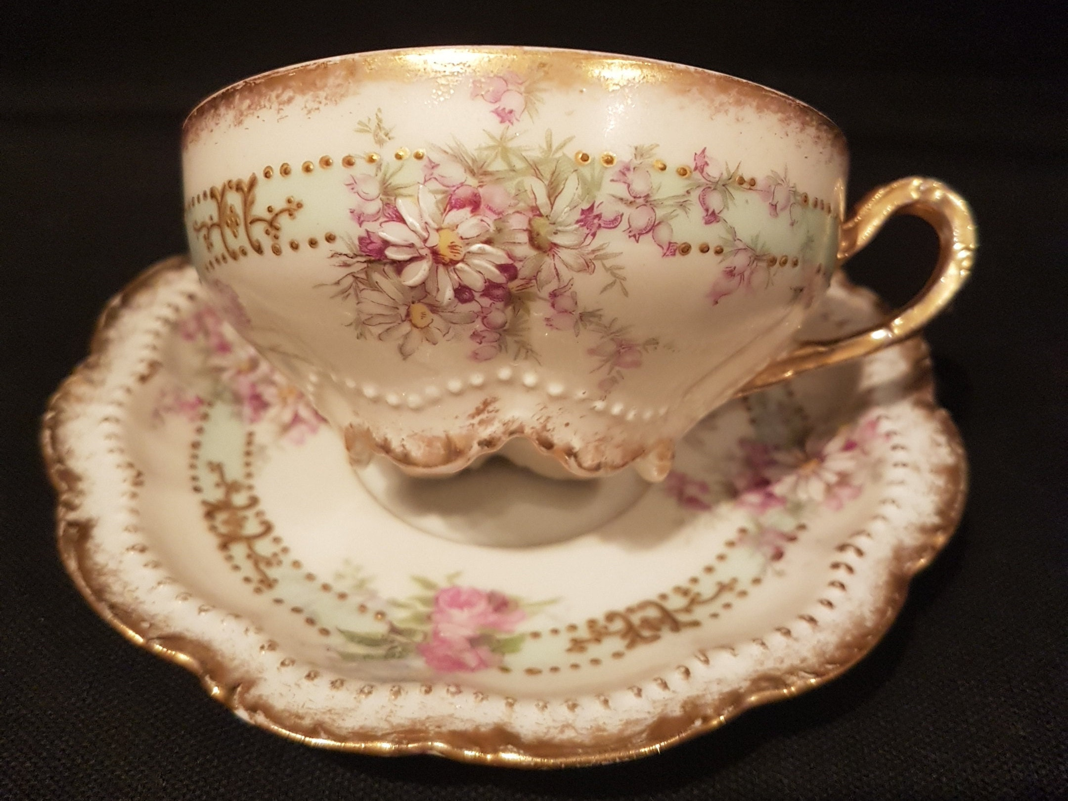 RARE Antique GEORGE BORGFELDT Coronet Limoges France Teacup (1910\'s)