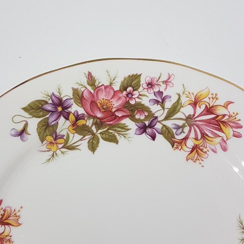Clematis Plates White w//Colored Flowers Johnson Bros