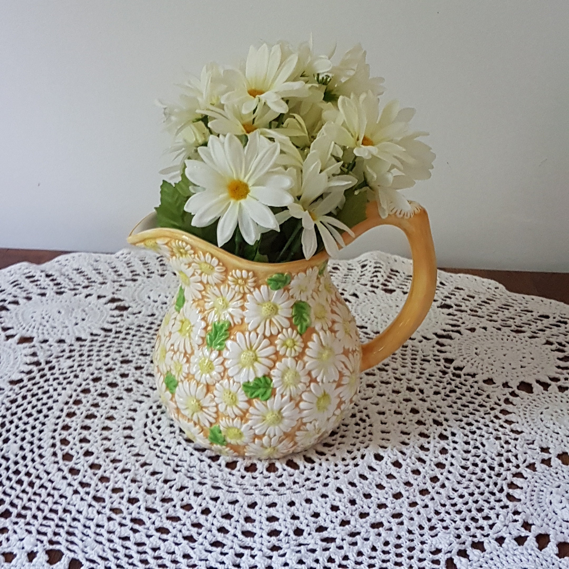 Daisy Kitchen Decor: White Daisy Flower Pitcher, Lemonade Jug, Sangrai Pitcher