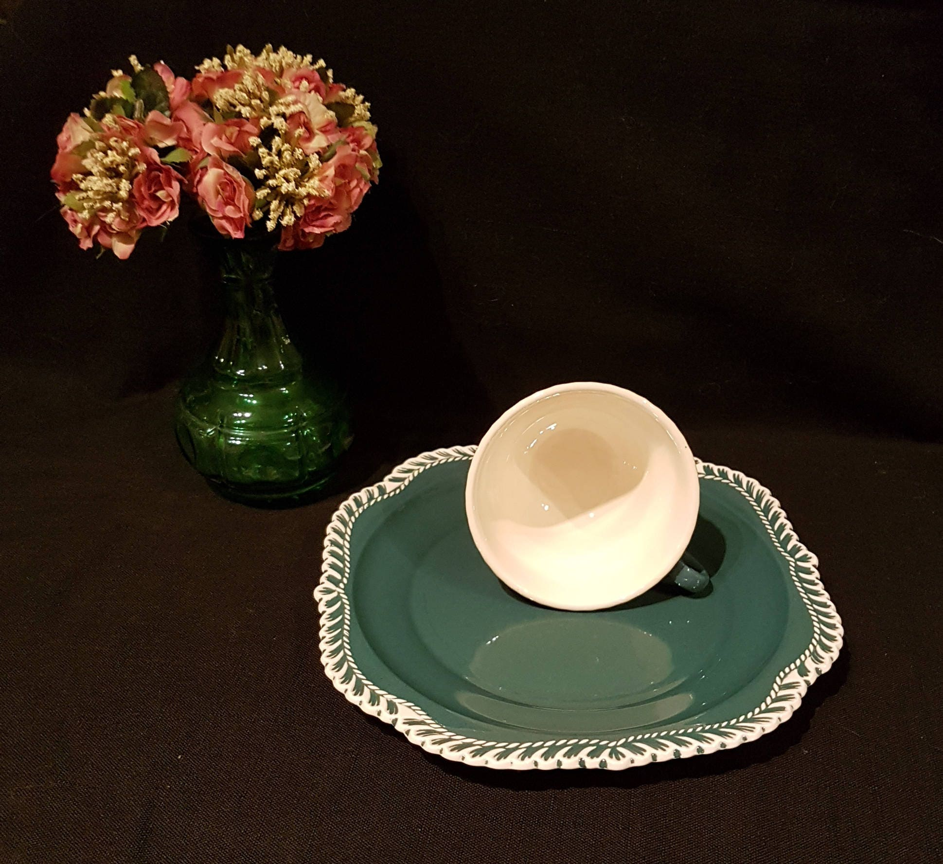 mid century cup and plate set 1950 s