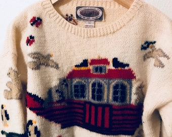 Size Large // White Wool Pullover Noah's Ark Sweater Gusto