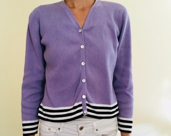 4c38b96d95 90s Lavender Cardigan with Black + White Stripes Button Up Vtg Vintage  1990s Sweater Pastel Purple