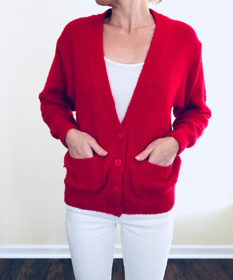 85a8cec90a1 80s Red Knit Cardigan Sweater with Pockets Vtg Vintage 1980s