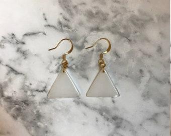 Triangle white bead earrings