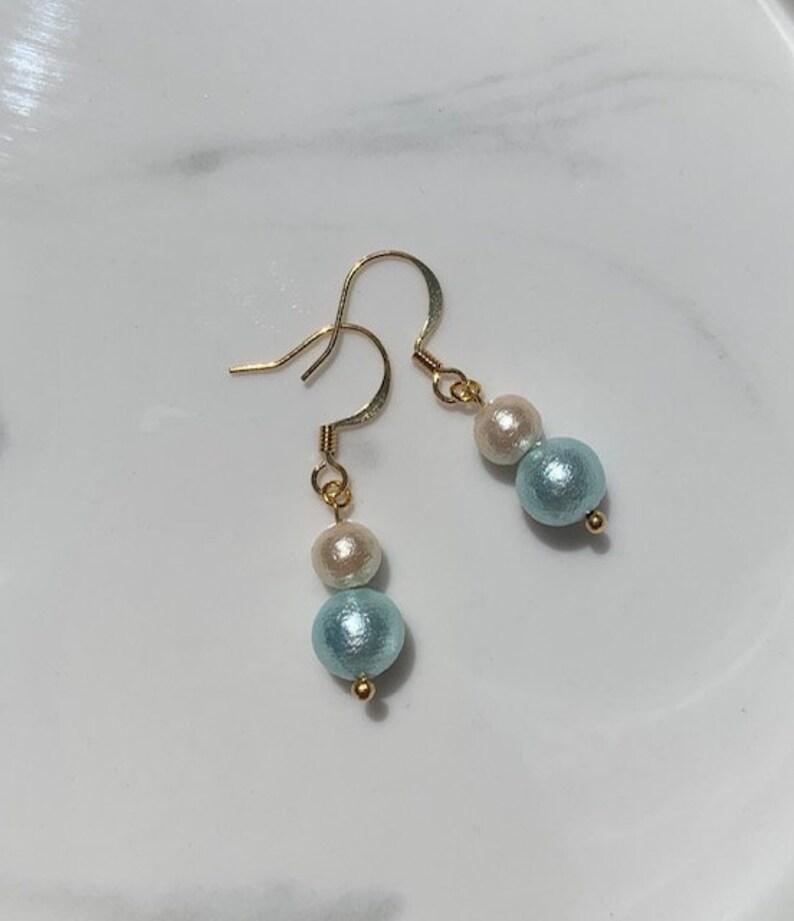 Cotton Pearl Earrings Blue image 0