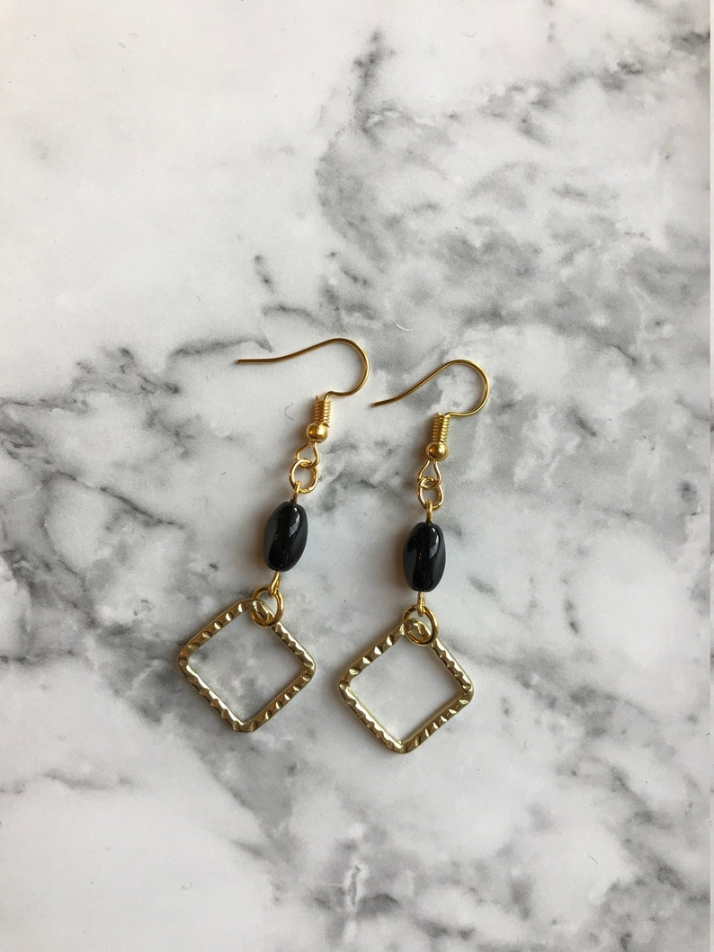 Golden Square & Black Bead Earrings image 0