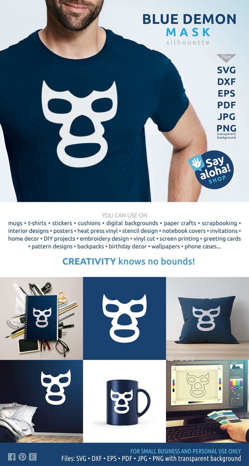 BLUE DEMON MASK svg, eps, dxf, png, pdf, jpg files • Lucha Libre fan •  mexican wrestling clipart • silhouette