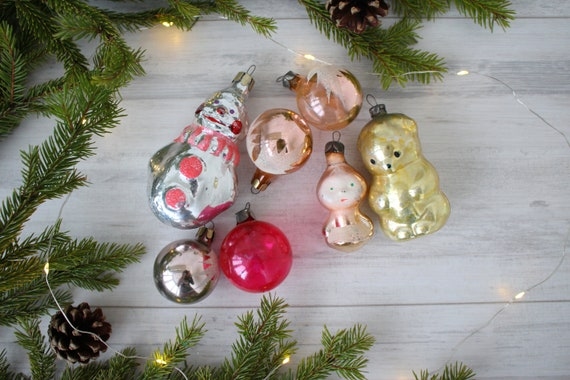 Russia Christmas Ornaments.Vintage Set Of 8 Soviet Glass Christmas Ornaments Russian New Year Christmas Tree Toys Snowman Ornament Antique Christmas Ornaments Ussr