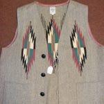 Vintage Ortega's of Chimayo, NM Men's wool vest 4 button 2 pockets