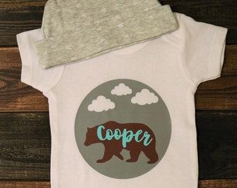 Bear Baby Onesie®, Woodland Onesie®, Baby Shower Gift, Baby Gift, Newborn Gift, Baby Boy, Bodysuit, gift