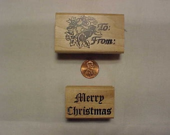 Two rubber stamps, To and From and Merry Christmas, © 1997
