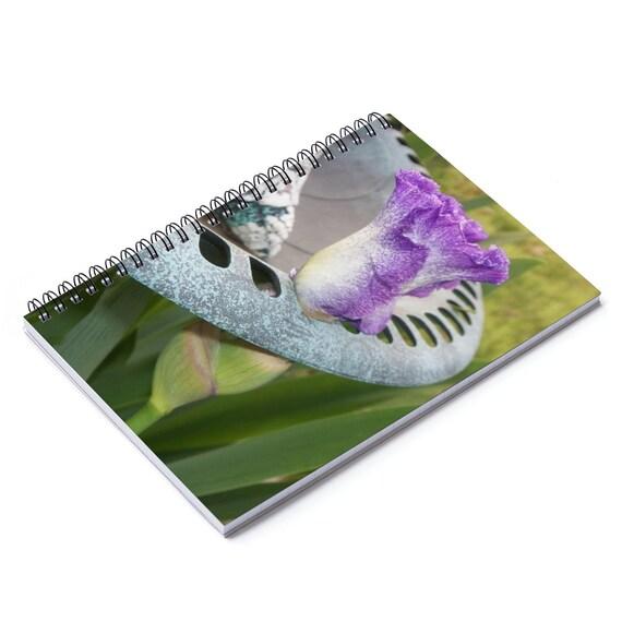 Iris Growing Through Birdbath Spiral Notebook Ruled Line