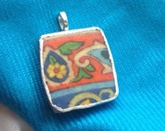 Broken China Pendant ... Red-Orange, Yellow, Blue