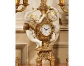 16.5 quot French Baroque Antique REPLICA Ornate Dancing Harvest Cherubs Mantle Desk Clock NEW