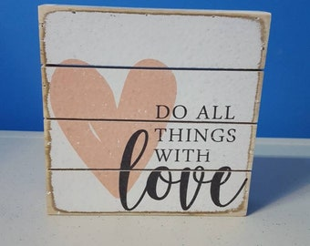 Do All Things With Love Mini Slotted Board love, Valentine's day, home decor,