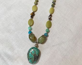 Necklace with Turquoise, Yellow Turquoise, Tiger's Eye, Yellow Jade and A Large Turquoise Pendant