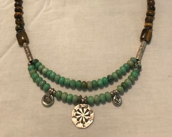 Necklace with Sterling Silver, Turquoise, Tiger's Eye, and Hill Tribe Silver