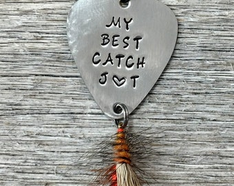 Fishing Gifts For Men Personalized Fly Lure Anniversary Gift Him Stamped Birthday