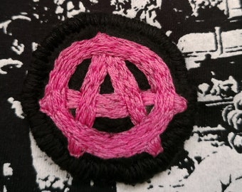 Anarchy hand-embroidered  felt brooch
