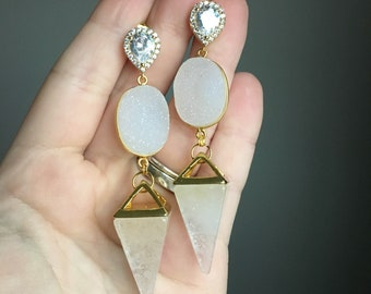 Gold Plated White Druzy Agate Quartz Pyramid Geode CZ Pave Drop Earrings