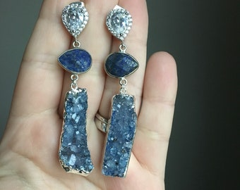 Silver Plated  Blue Druzy and Lapis Lazuli Earrings CZ Bridal