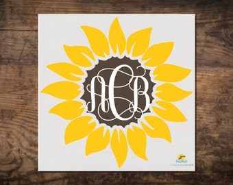 c893001d5 Sunflower Monogram Decal | Personalized Sunflower Vine Monogram with Center  | Sunflower Monogram Sticker | Initials decal | Yeti Monogram