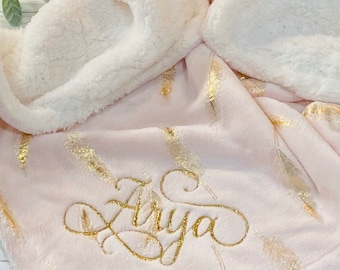 Personalized Gold Feather Pink Baby Blanket - Embroidered with Monogram or Name - Boho Nursery Baby Shower Gift - Pink and Gold Nursery
