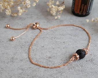 Rose Gold Bolo Adjustable bracelet Essential Oil Diffuser Bracelet  Lava Rocks Aromatherapy Jewelry Healing Bracelet Box chain Lava beads