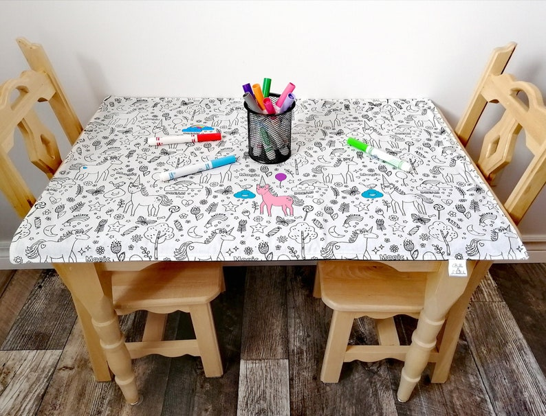 Washable Coloring Tablecloth Licornes Etsy