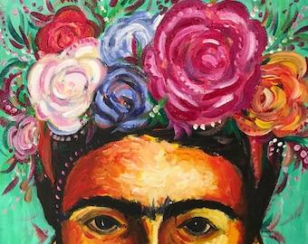 "Frida Kahlo painting, Frida Kahlo print, Frida Kahlo Art, mexican art ~ acrylic 12 x 12 - ""Floral Frida"""