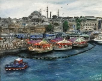 Original Art Oil Painting A day in Istanbul ArtSimply by Christine