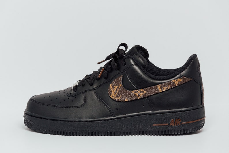 5f9291b02a3d07 Nike Air Force 1 Black LV Custom Made Premium Designer Edition